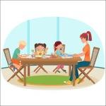 woman-sitting-table-livingroom-drawing-children-vector-illustration-89876065